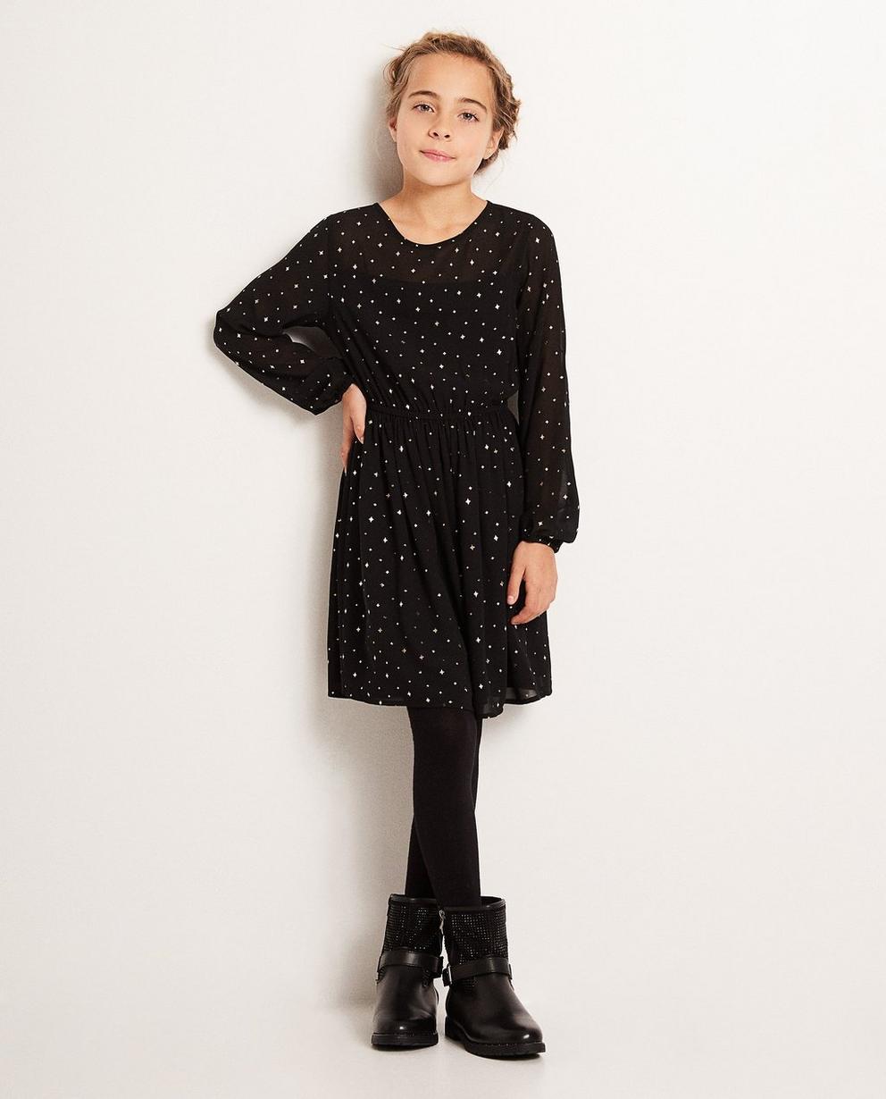 Schwarzes Kleid - mit durchgehendem Sternenprint - JBC